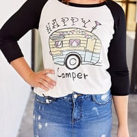 Happy Camper 3/4 Baseball Tee - Black/Ivory