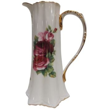 Porcelain Pitcher Roses Gold Gilding Cracker Barrel