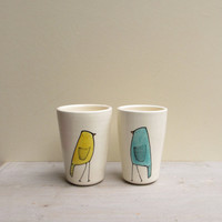Two bird cups pastel spring garden yellow and by catherinereece