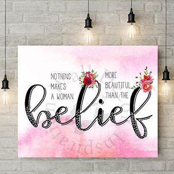 Belief |  Beauty in you | Art Print | Inspiration | Home Decor Print | Printable | Typography | Motivation Quote