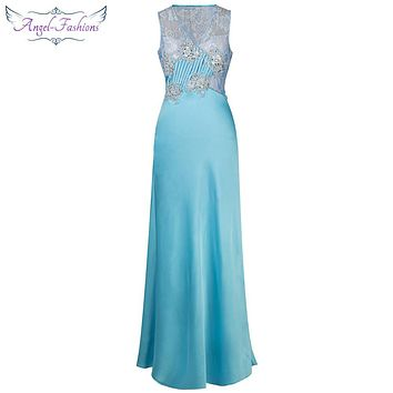 Angel-fashions Sheath V Neck Floral Beading Lace Pleat Satin Long Evening Dress Turquoise 169