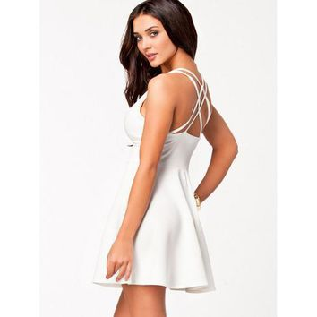 Womens Plunging Neck Multi-Strap Cross-Back Skater Dress