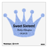 Blue Zebra Sweet 16 Celebration Gift Set Wall Skins