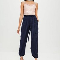 Missguided - Carli Bybel x Missguided Navy Satin Cargo Pants