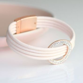 Stranded Pale Pink Leather Bracelet With Crystal Circle
