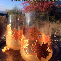 Autumn stemless crystal set of 2 Maple Leaves toasting wine glasses in gold and copper color