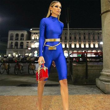Sportswear Set Women Long Sleeve Royal Blue Full Sleeve Turtleneck Playsuits Female Skinny Sexy Workout Street Rompers Jumpsuits
