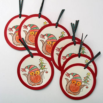 Christmas Gift Tags, Owl in Christmas Outfit, Set of 8 Hand Stamped and Colored Holiday Gift Tags, Circle Shaped Hang Tags, Red and White