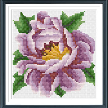 Purple Peony Cross Stitch Pattern, Cross Stitch Flower Ornament, Cross Stitch PDF, Pattern design