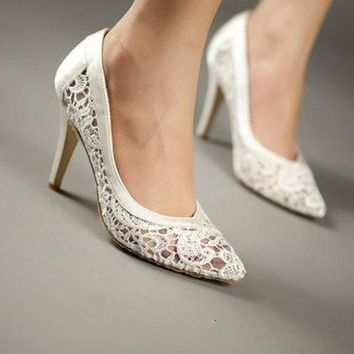 DCCKIX3 cutout satin fabric high heel sexy lace wedding shoes shallow mouth pointed toe genuine leather bride pumps = 1930010820