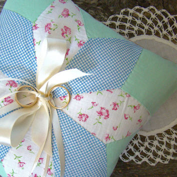 Wedding Ring Pillow, Ring Bearer, Ring Bearer Cushion, Country Rustic Style, Quilt Ring Bearer Pillow, Blue, Green, Outdoor Barn Wedding