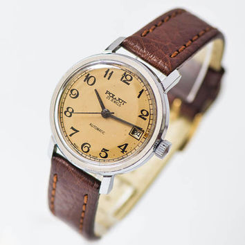 Men's wristwatch Poljot, automatic men watch vintage, sandy face watch, dress watch classic, self winding watch, premium leather strap new