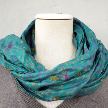 Emerald Green Silk Scarf woman FALL WINTER by tocamade on Etsy