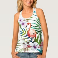 Flamboyant Flamingo Tropical nature garden pattern Tank Top