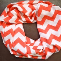 Coral and White Chevron Infinity