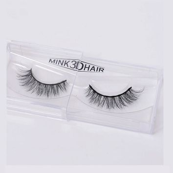 1 Pair Handmade 3D Mink False Eyelashes Crossing lashes Natural soft cotton stalk style Eye Makeup Tools