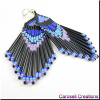 Native American Beaded Earrings Seed Bead Beadwork Dangles In Blues
