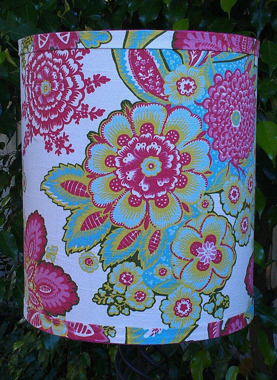 Lamp Shade Drum Pink Blue Green Flowers From Vero Lampshades
