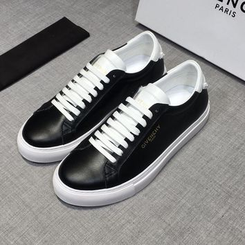 GIVENCHY Black White Leather Low Sneakers - Best Deal Online