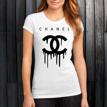 Chanel Drip Melted Logo Premium Fashion Printed T Shirt, Women T Shirt, (Various Color Available)