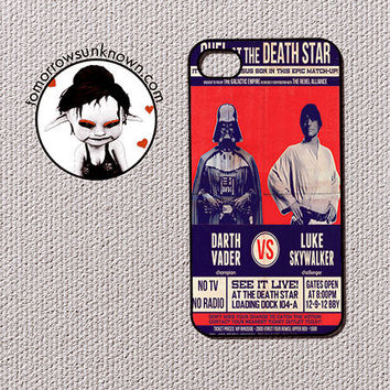 Star Wars inspired iPhone 4/4s/5, Ipod touch 4/5, Samsung Galaxy S3, plastic case cover - Darth Vader vs Luke Skywalker