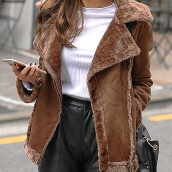 Brown Suedette Lapel Faux Shearling  Biker Jacket