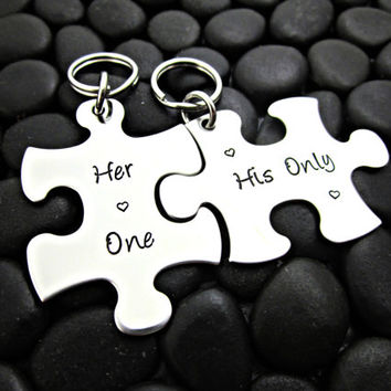 His and Hers Keychains - Her One His Only Puzzle Pieces  - Stainless Steel Metal Stamped