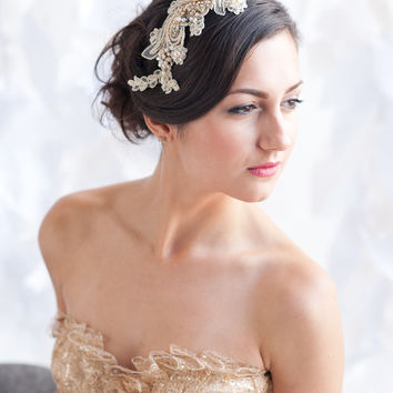 Gold lace headpiece, lace headpiece, bridal hair comb