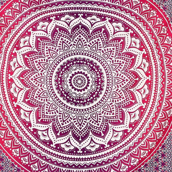 Queen ombre Hippie Indian Tapestry Elephant Mandala Throw Wall Hanging Gypsy Bedspread