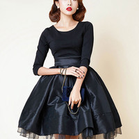 Black Vintage 3/4 Sleeve Bowknot Back Sheer Hem Tutu Dress