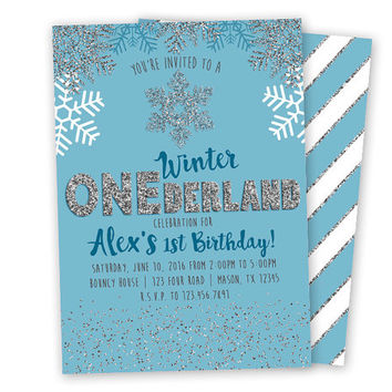 Boy's Winter ONEderland Invitation - First Birthday Boy Invitation - Boy 1st Birthday - Snowflake - Winter - Glitter - Blue Silver -  Trendy