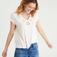 AE Soft & Sexy Cut Out Embroidery V-Neck T-Shirt, White
