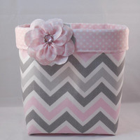 Pink and Gray Chevron Fabric Basket With Pink Polka Dot Liner And Detachable Fabric Flower For Storage Or Gift Giving