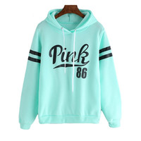 Mint Green Drawstring Hooded Letters Print Long Sleeve Sweatshirt