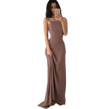 2017 Elegant Sexy Bandage Women Long Party Dress Spaghetti Strap Backless Floor-Length Slim Maxi Dresses Night Clubwear