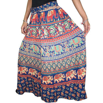 Mogulinterior Womens Long Skirt-Blue Cotton Printed Bohemian Hippie Peasant Maxi Lenght