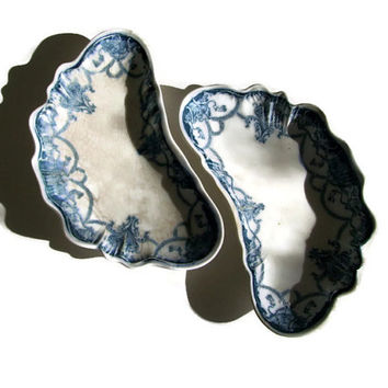 Antique Johnson Bros Bone Plates, Dartmouth Flow Blue, Set of 2, Transferware, 1890's, Cottage Decor, Porcelain Victorian, Made in England