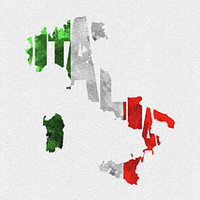Italy Typographic Map Flag