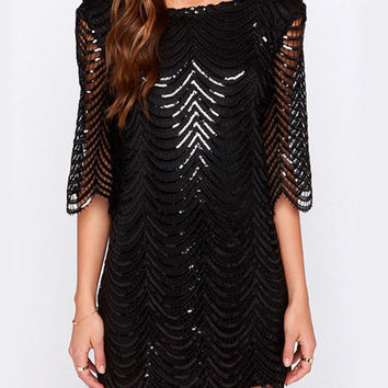 Wave Pattern Lace Mini Dress