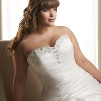 Mermaid Silhouette Gown Strapless Sweetheart Neckline Beadwork Asymmetrically Satin Plus Size Wedding Dress YSP1218 | $143.88 | Maryswill.com.