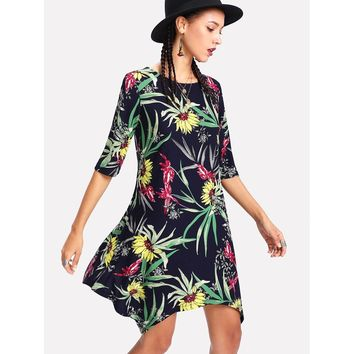 Botanical Print Hanky Hem Dress