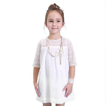 Summer baby girl dresses Chiffon Lace kids mini dress Solid Short Sleeve Children Casual infants o neck howllow clothing 2-6Y