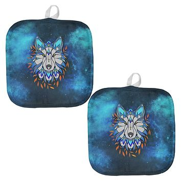 Totem Wolf is my Spirit Animal All Over Pot Holder (Set of 2)