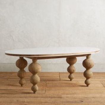 Lacquered Elm Dining Table, Small Oval by Anthropologie in White Size: Small Oval Furniture