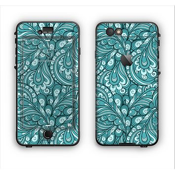 The Abstract Blue Feather Paisley Apple iPhone 6 LifeProof Nuud Case Skin Set