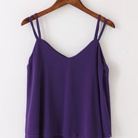 Purple Chiffon Tank Top