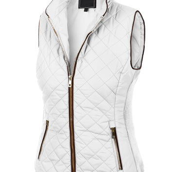 LE3NO Womens Quilted Fully Lined Zip Up Puffer Jacket Vest