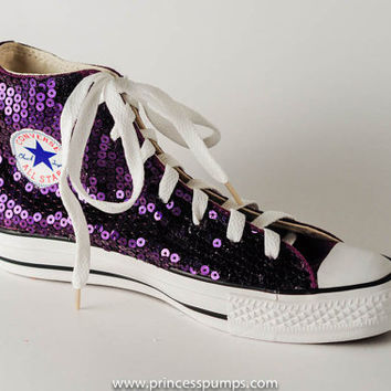26b67752fae8 Grape Purple Sequin Converse All Star Hi from Princess Pumps