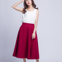 Burgundy Wool Skirt Midi Winter Skirt