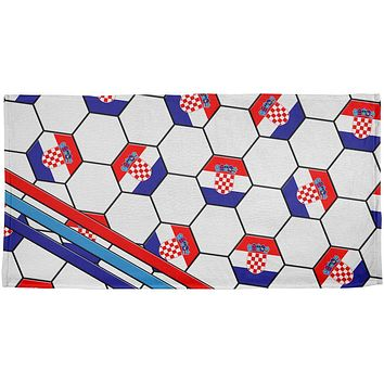 World Cup Croatia Soccer Ball All Over Beach Towel